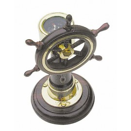 Steering Stand, wood/brass on wooden base, H: 15cm
