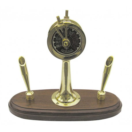 Machine Telegraph, brass on wooden base, with 2 penholders, H: 17cm