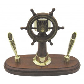 Steering Stand, wood/brass on wooden base, with 2 penholders, H: 16cm