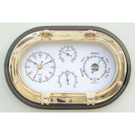 Clock, Baro-, Thermo- & Hygrometer in oval brass porthole on wooden base, 31x20,5cm