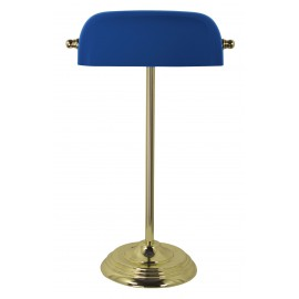 Bankers lamp, iron in brass finish, with blue glass shade, 230V, E27, 60W, H: 46cm