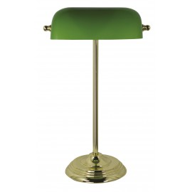 Bankers lamp, iron in brass finish, with green glass shade, 230V, E27, 60W, H: 46cm