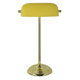 Bankers lamp, iron in brass finish, with yellow glass shade, 230V, E27, 60W, H: 46cm