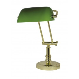 Bankers lamp, iron in brass finish, with green glass shade, 230V, E27, 60W, H: 36/43cm