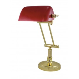 Bankers lamp with red glass shade