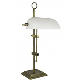Bankers lamp, iron in old brass finish, with opal glass shade, 230V, E27, 60W, H: 55cm