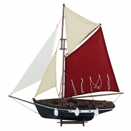 Wooden fishing boat with sails, L: 58cm