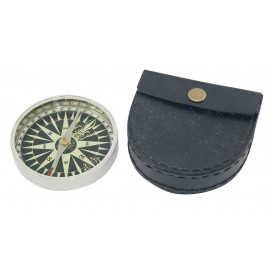 Compass, Ø: 7,3cm, with leather case