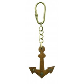 Keyring - Anchor, wood/brass