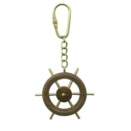 Keyring - Ship's Wheel, wood/brass