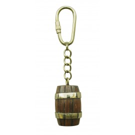 Keyring - Barrel, wood/brass