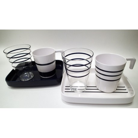 Coffee Set for Two, Marine Stripes