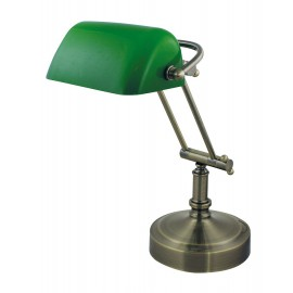 Bankers lamp, iron in old brass finish, with green glass
