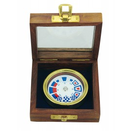 Compass, Ø: 5,5cm, in wooden box