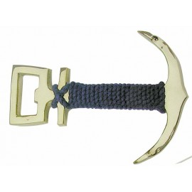 Bottle Opener - Anchor, brass with blue rope, 11cm