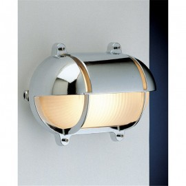 Chrome bulkhead lamp, shadowed, IP54
