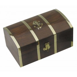 Treasure box, wood/brass, 10x5x4,5cm
