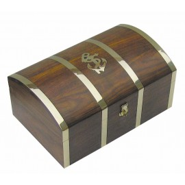 Treasure box, wood/brass, 22x14x10,5cm