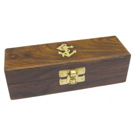 Wooden box, with brass latch, 15x5x4,3cm