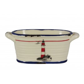 Oval pot with lighthouse design, dolomite lacquered, H: 9cm, 21x10cm
