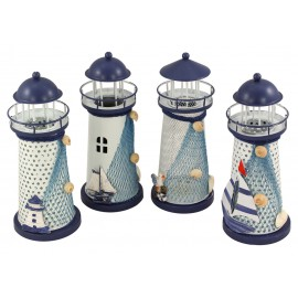 Lighthouse with LED candle, set of 4