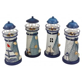 Lighthouse with candle, set of 4