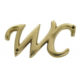 Door name plate - WC, brass, 9,5x5x0,5cm