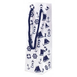 Gift bag, paper lacquered, white/navy blue, 7x7x23cm