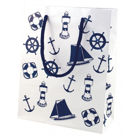 Gift bag, paper lacquered, white/navy blue, 18x23x8cm