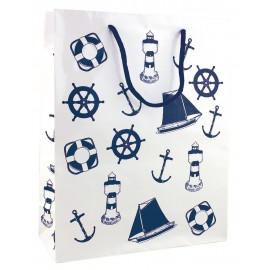 Gift bag, paper lacquered, white/navy blue, 26x33x10cm