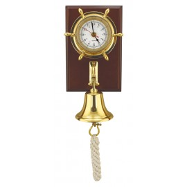 Clock & bell on wood board, brass, 15x22,5cm, Ø: 14/7,5/9,5cm