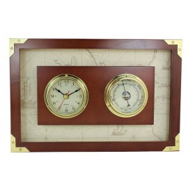 Clock&Barometer in wood frame, brass, 36x24x3,3cm, Ø: 7,5cm