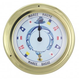 Tide-clock, brass, coloured dial, Ø: 14,5/10cm, H: 4,2cm