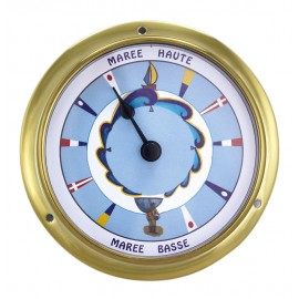 Tide-clock, brass, coloured dial, Ø: 11,5/9cm, H: 3,4cm