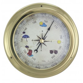 Barometer, brass, coloured dial, Ø: 14,5/10cm, H: 4,2cm