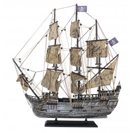 Pirate ship, wood with cloth sails, L: 50cm, H: 56cm - in old silver finish