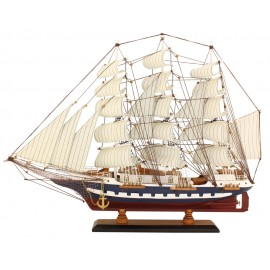 Sailing-ship, wood with cloth sails, L: 63cm, H: 47cm