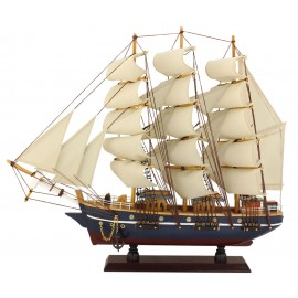 Sailing-ship, wood with cloth sails, L: 47cm, H: 41cm