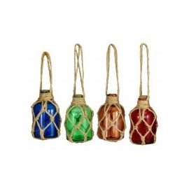 Fishermen's bottles, Set/4, glas with net, blue/green/amber/red, H: 8cm, Ø: 4,5cm