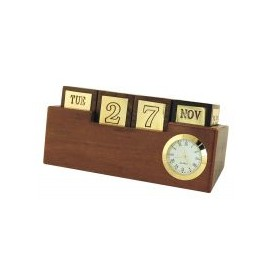 Dice-calendar & clock, wood/brass, 15x5x7cm