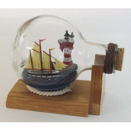 Bottle-ship - Ship & lighthouse, lying ball bottle, L: 10,5cm