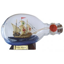 Bottle-ship - Santa Maria, in Dimple-bottle, L: 15cm, H: 9cm
