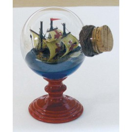 Santa Maria in a ball on wooden stand, H: 8cm
