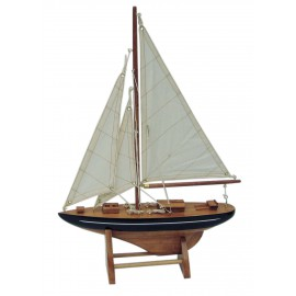 Sailing yacht, wood with cloth sails, L: 25cm, H: 35cm