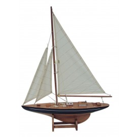 Sailing yacht, wood with cloth sails, L: 40cm, H: 55cm