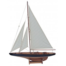 Sailing yacht, wood with cloth sails, L: 60cm, H: 80cm