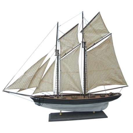 Sailing yacht, wood with cloth sails, L: 85cm, H: 72cm - model totally in old finish