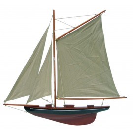 Sailing yacht, half-hull model, wood with cloth sails, L: 56cm, H: 52cm