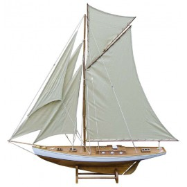 Sailing yacht, wood with cloth sails, L: 125cm, H: 135cm
