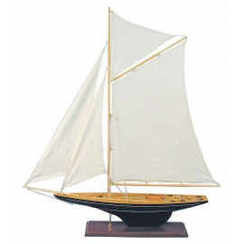 Sailing yacht, wood with cloth sails, L: 80cm, H: 85cm